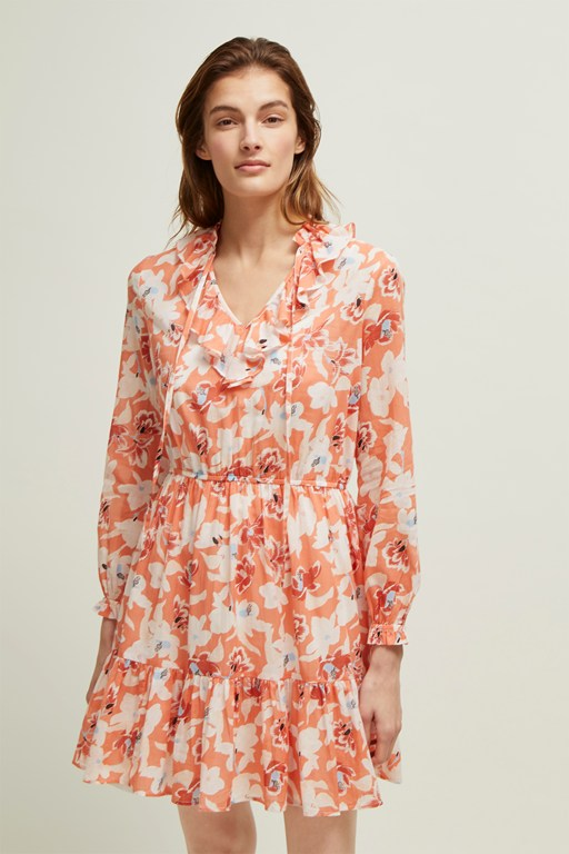 tulum floral tie neck dress