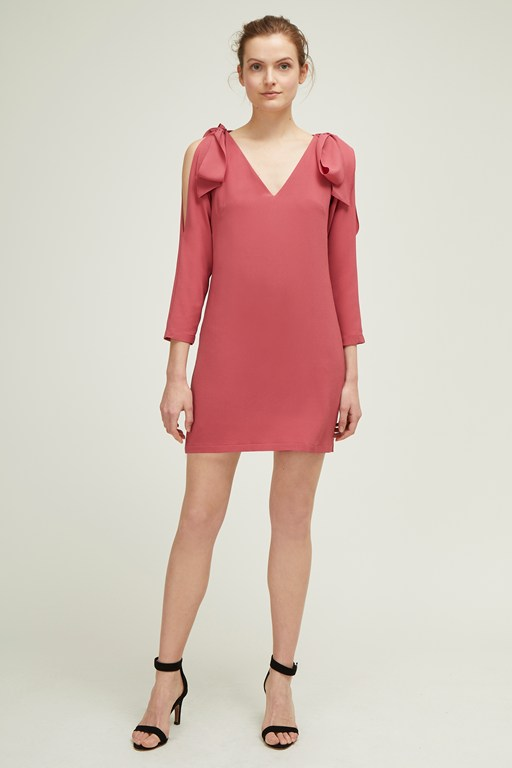 venice crepe v neck dress