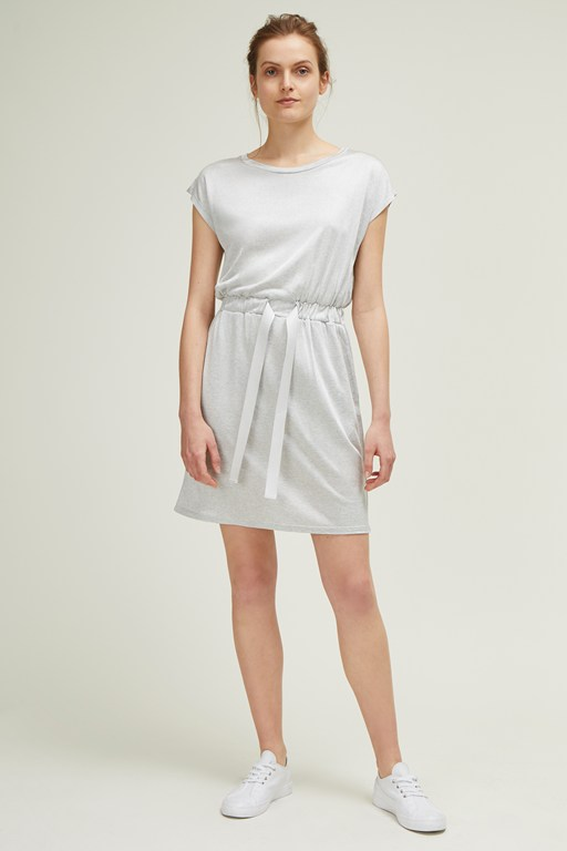 silky jersey slash neck dress