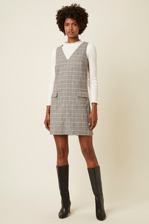 paradis check sleeveless v neck dress
