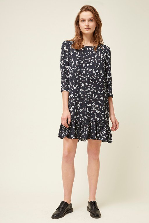 paris flower 3/4 sleeve dress