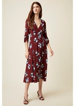Rachel Floral 3/4 Sleeve V Neck Dress