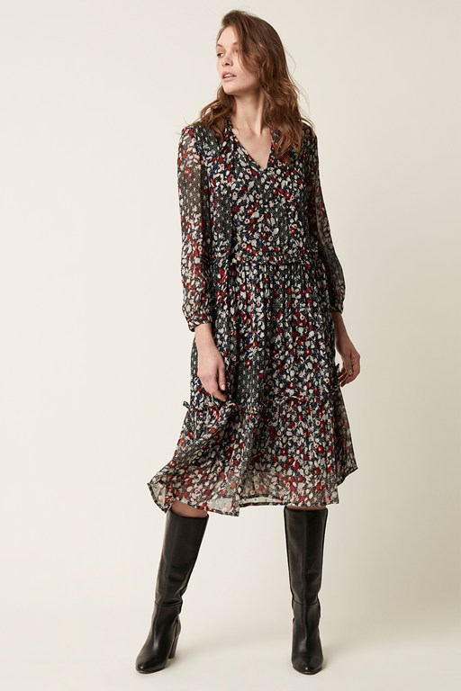 cosmo flower long sleeve tie neck dress
