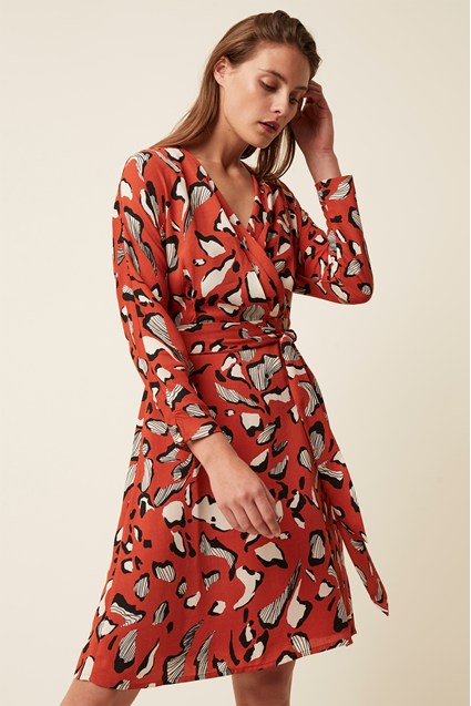 Vivien Abstract Long Sleeve Wrap Dress