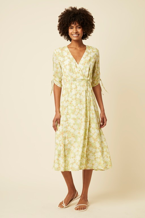 speckle blossom wrap midi dress