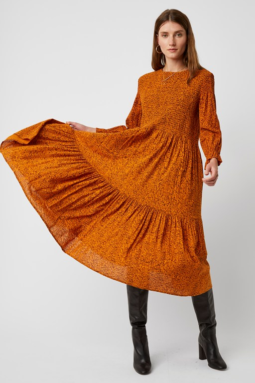 ivy fleur long sleeve smock dress