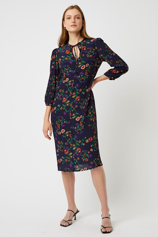 colette flower round neck dress