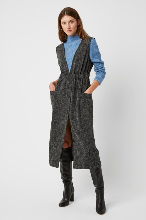 modern tweed v neck dress