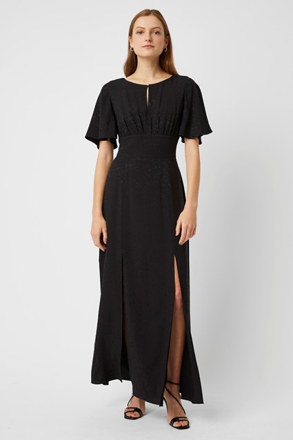 Peppy Jacquard Round Neck Maxi Dress