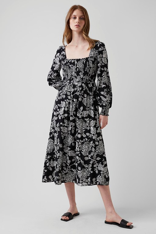 bali bloom square neck dress