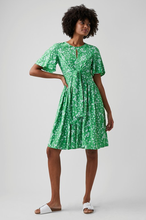 fresh ditsy tie front dress