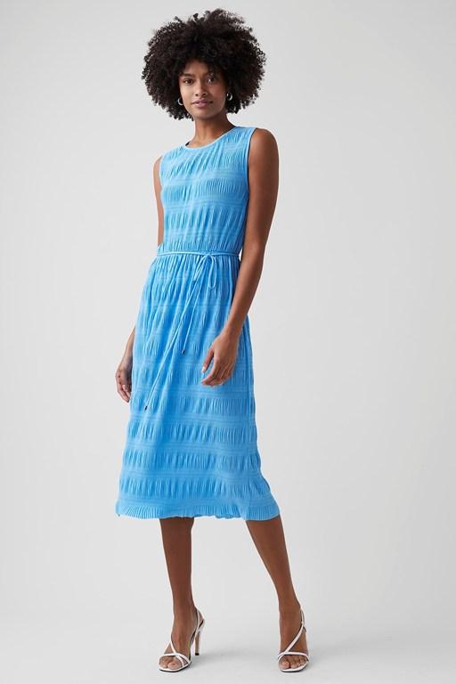 ruffle pleat jersey midi dress