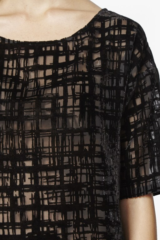 Complete the Look Devore Sheer Scribble Top
