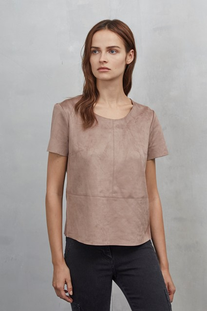 Easily Swaid Faux Suede Top