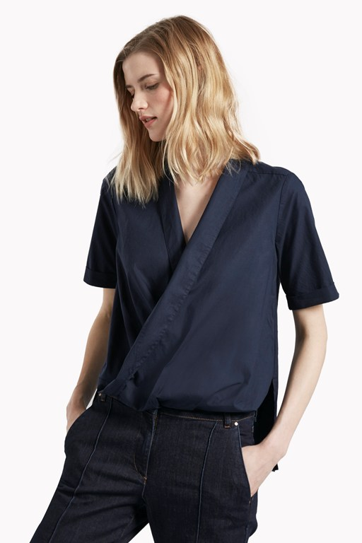 Complete the Look Poppy Poplin Draped Shirt