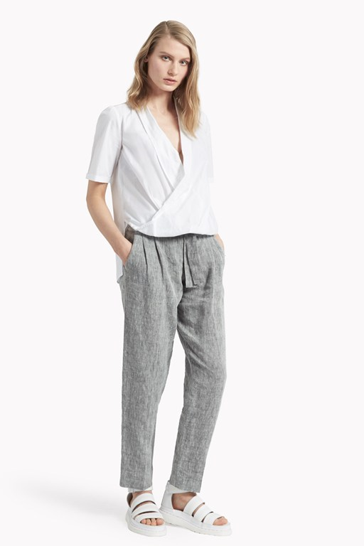 poppy poplin draped shirt