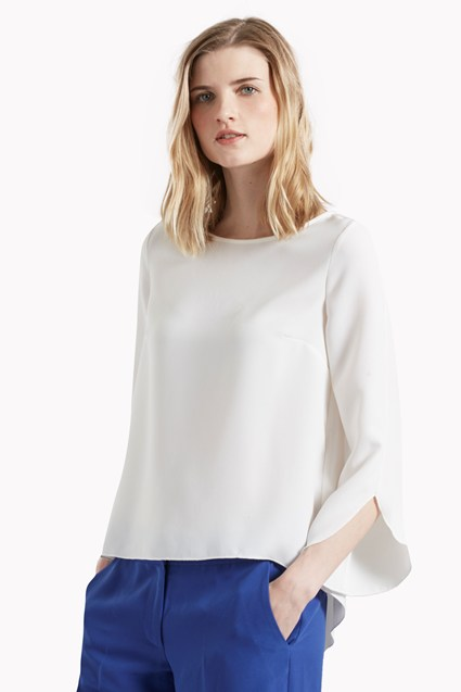 Olivia Crepe Fluted Sleeve Blouse