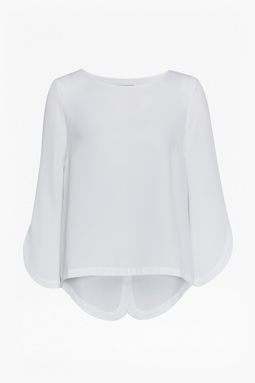 Complete the Look Olivia Crepe Fluted Sleeve Blouse
