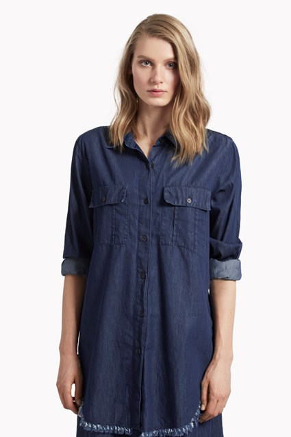 Lightweight Denim Raw Hem Shirt