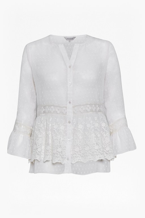 Complete the Look Dobby Spot Embroidered Blouse