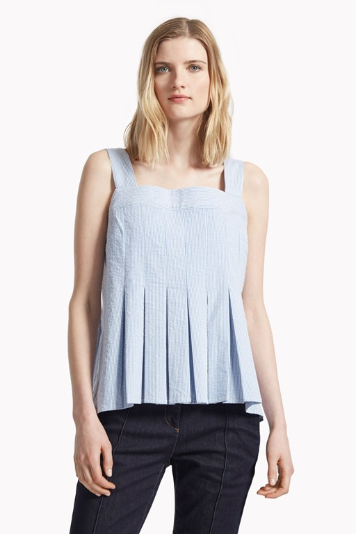 candy seersucker stripe pleated cami