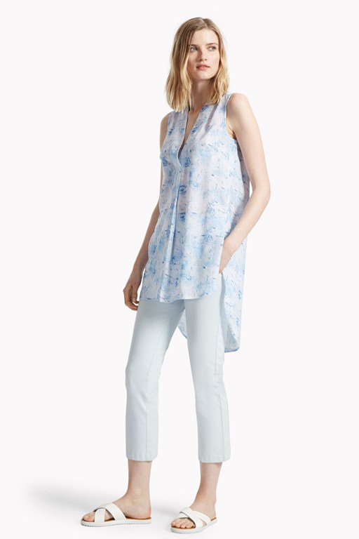 watercolour haze printed tunic top