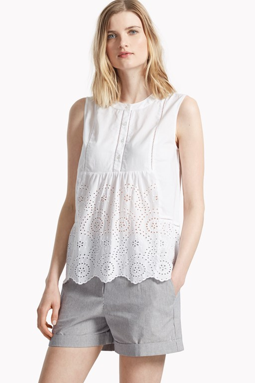 chantilly mix scallop hem top