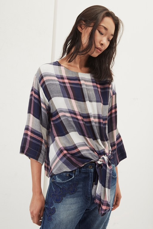 charlotte check knot detail top