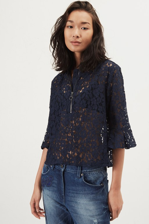 liz lace frilly peplum blouse