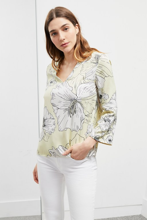 tropical flora v neck blouse