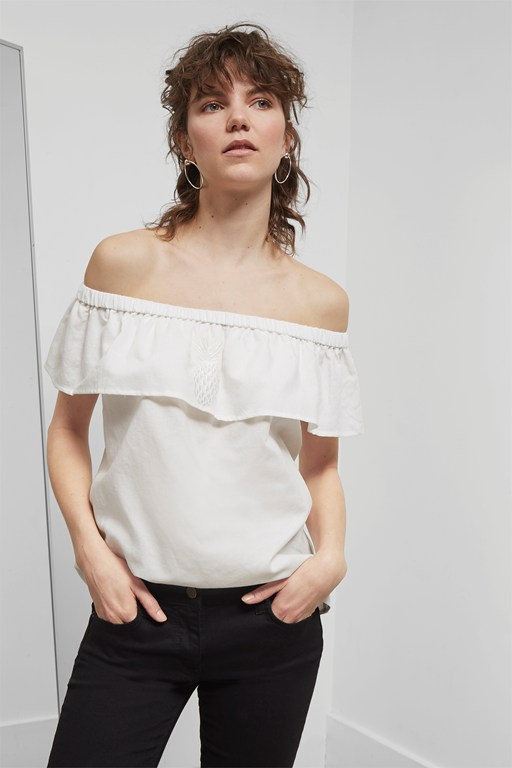 lagos linen cold shoulder top