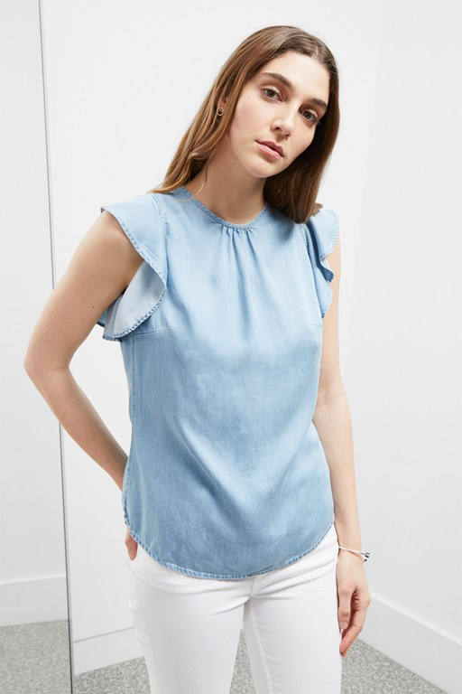 chambray frill top
