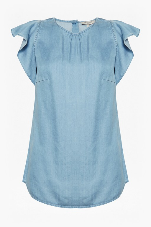 Complete the Look Chambray Frill Top