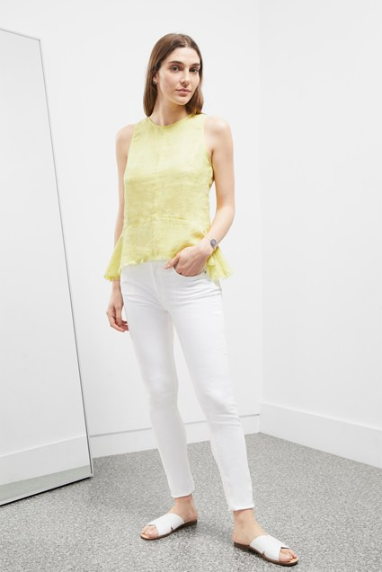 Cotton Linen Peplum Top