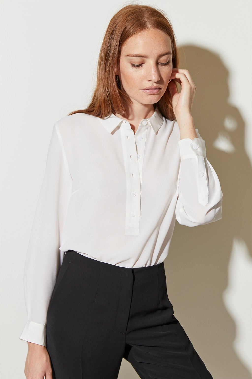 97556e9682043 Silk Mix Collared Blouse. loading images.