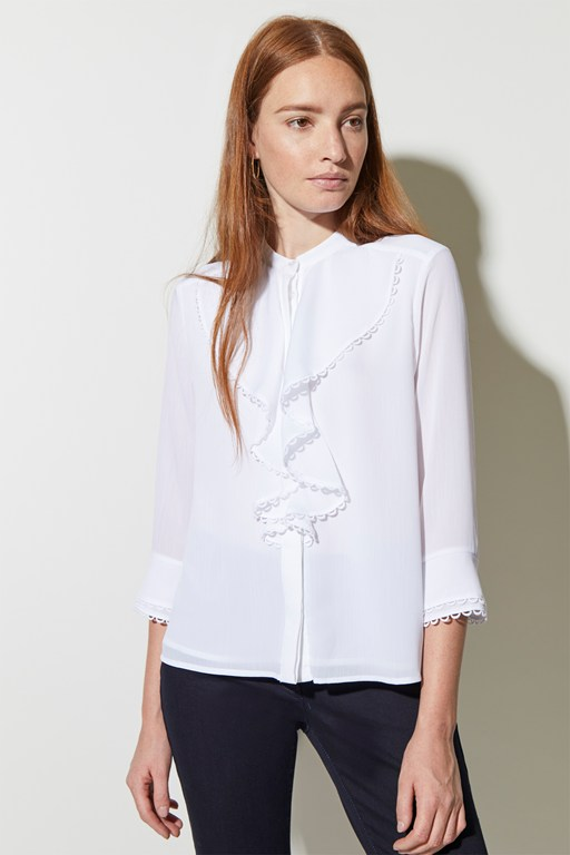 textured frill front shirt