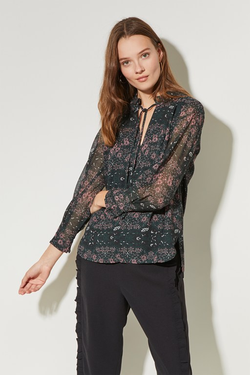 speckled flower round neck top