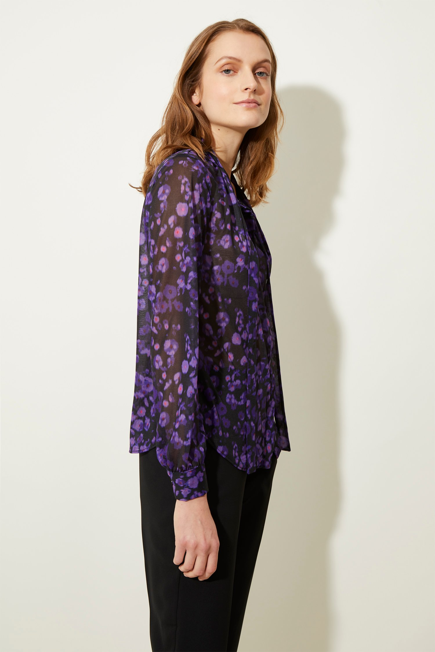 7e89889683ce06 Abstract Floral Tie Neck Top