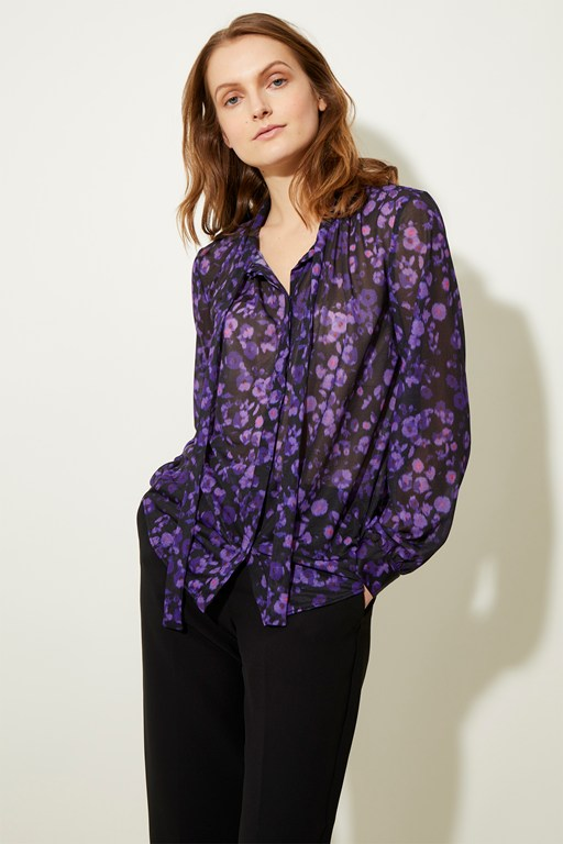 abstract floral tie neck top