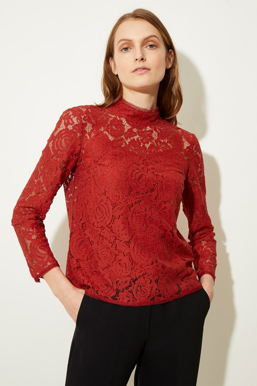joni lace high neck top
