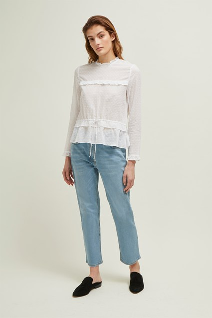 Arizona Dobby High Neck Blouse
