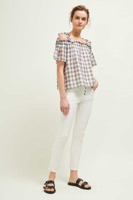 Gem Gingham Off The Shoulder Top