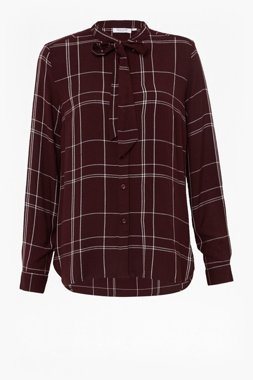 agnes check tie neck shirt