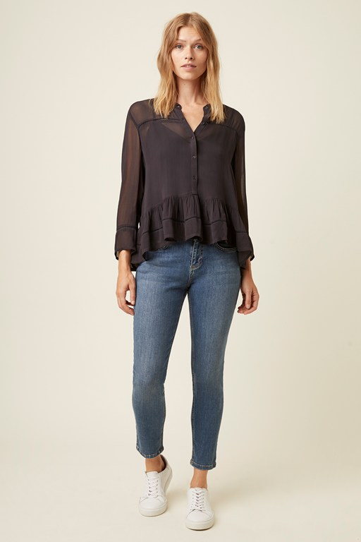 bardot lace button blouse