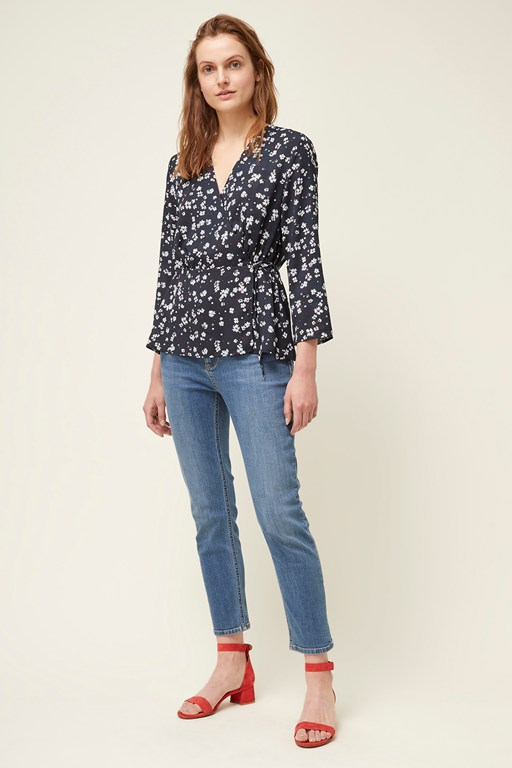 paris flower v neck wrap top