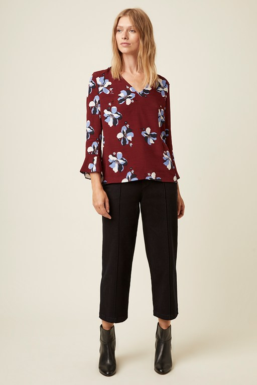 rochelle flower v neck top