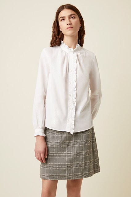 Tilly Ruffle Neck Poplin Shirt