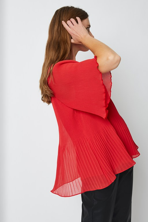 salma pleat high neck top