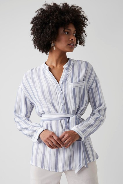 Summer Pin Stripe Belted Blouse
