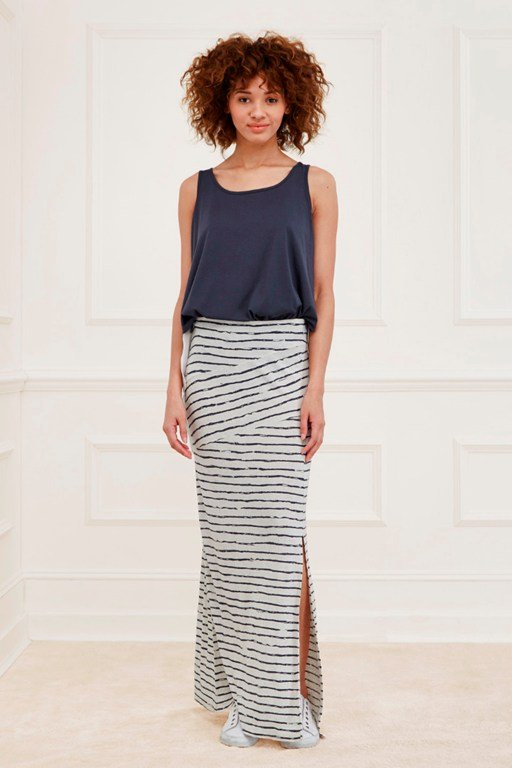 artisan striped maxi skirt